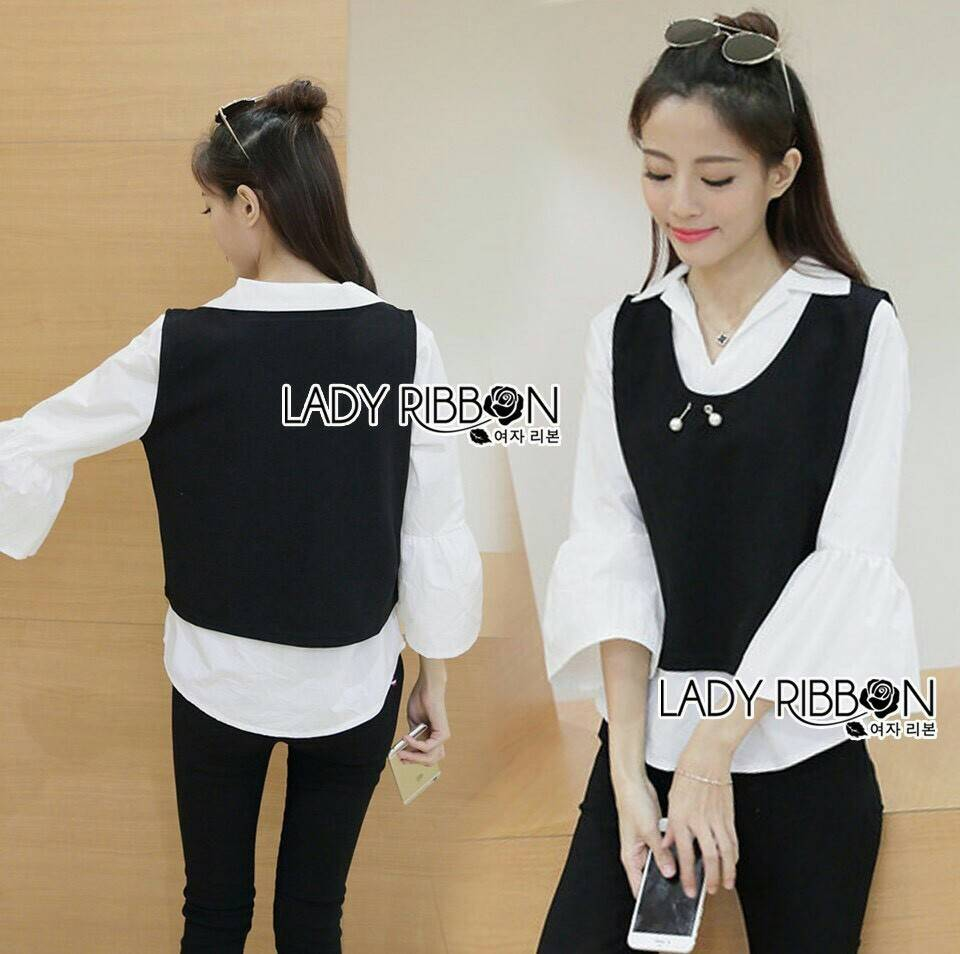 Emily Preppy Chic Black and White Cotton Top