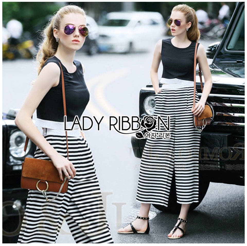 Lady Celina Minimal Chic Cropped Top and Striped Pants Set L259-7918
