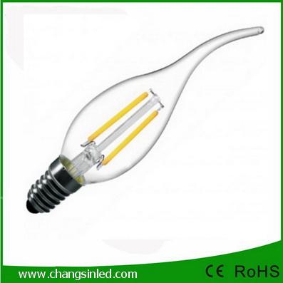 หลอดไฟ LED E14 Crystal Filament Candle Bulb Light 3w
