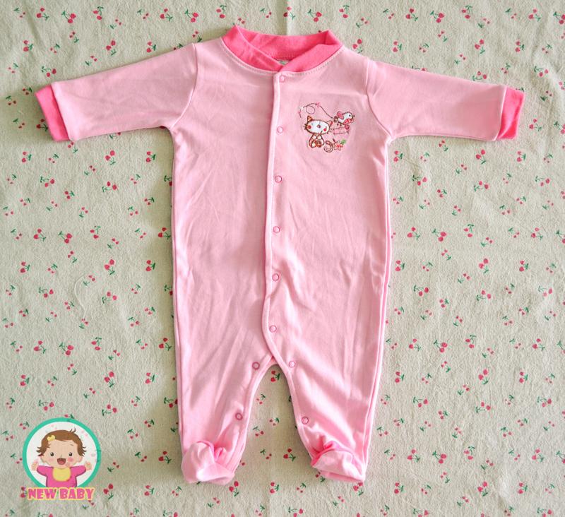 ไซส์ 3-6 เดือน ชุดหมีเด็กแบบคลุมเท้า แขนยาว - ลายแมว