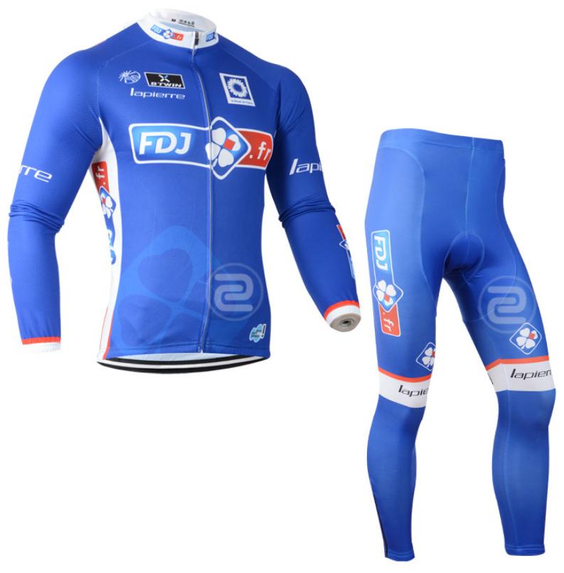 ชุดปั่นจักรยาน แขนยาว FDJ เสื้อปั่นจักรยาน และ กางเกงปั่นจักรยาน