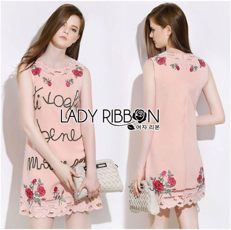 Dolce & Gabbana Sequin Rose Embroidered Pink Dress L195-89C01