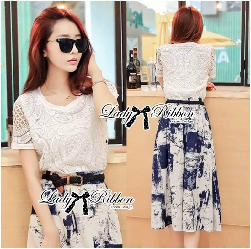 Lady Carine Contrast Lace Top with Graffiti Printed Midi Skirt Set L168-85C10