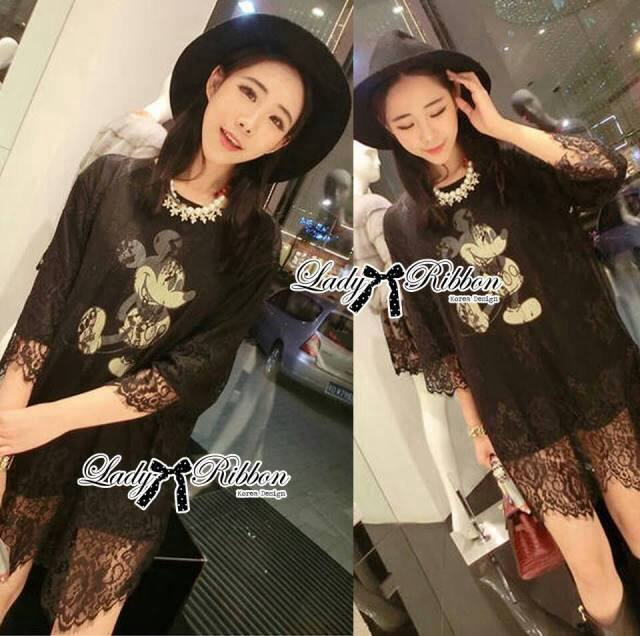 Lady Elisa Quirky Glam Mickey Mouse Lace Dress L119-65C11