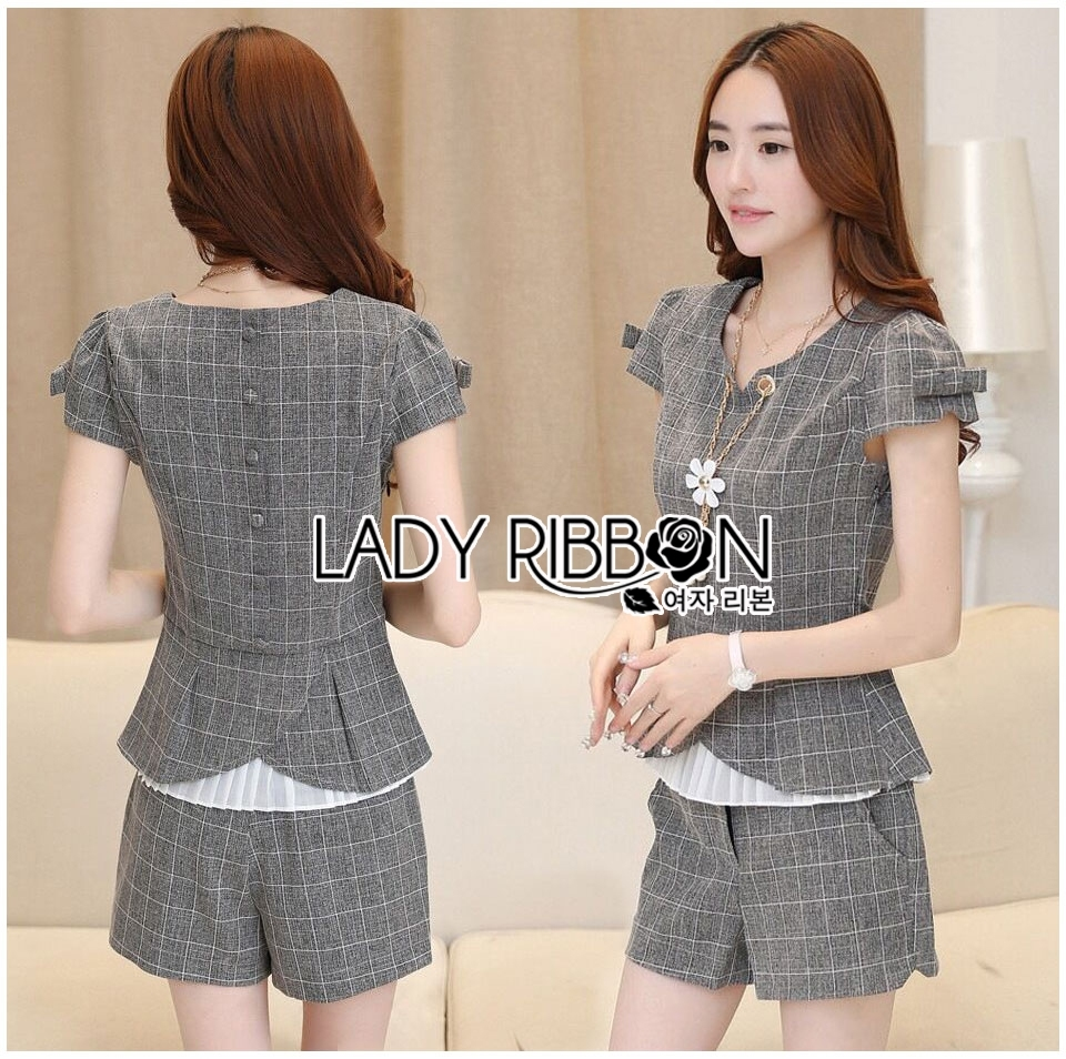 Lady Grace Smart Casual Check Printed Blouse and Shorts Set L200-79C06