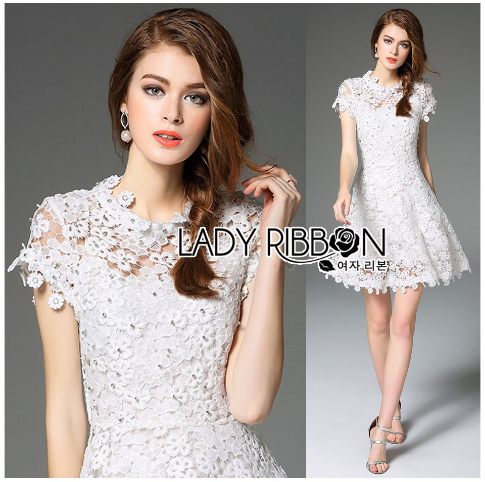 Lady Gabriela Crystal Embellished Flower White Lace Dress L263-8909