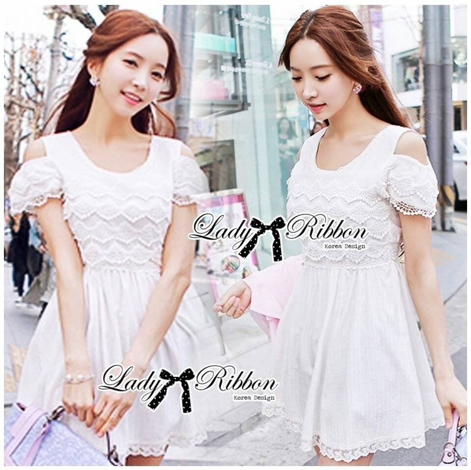 DR-LR-071 Lady Charlotte Gorgeous Little White Lace Dress