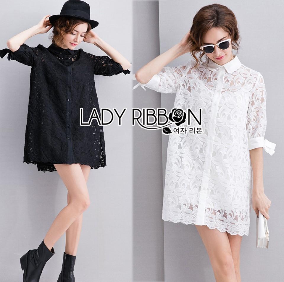 Lady Monica Sweet Minimal White Lace Shirt Dress L266-7908