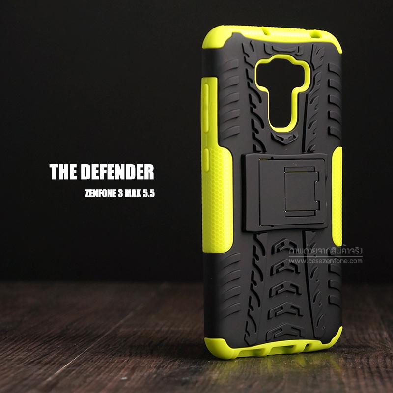 """เคส Zenfone 3 Max 5.5"""" (ZC553KL) เคสบั๊มเปอร์ Defender กันกระแทก มีขาตั้งในตัว สีเขียวอ่อน"""