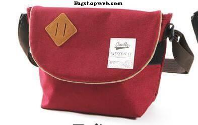 กระเป๋า ANELLO POLYESTER CANVAS SHOULDER BAG สี Red Wine