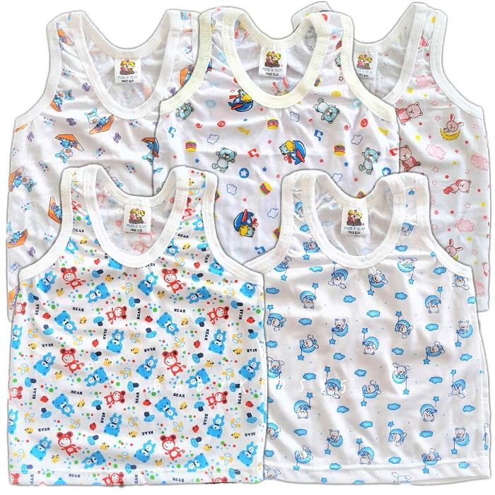 เสื้อกล้าม ผ้ายืด เด็ก3-9เดือน คละลาย 5ตัว