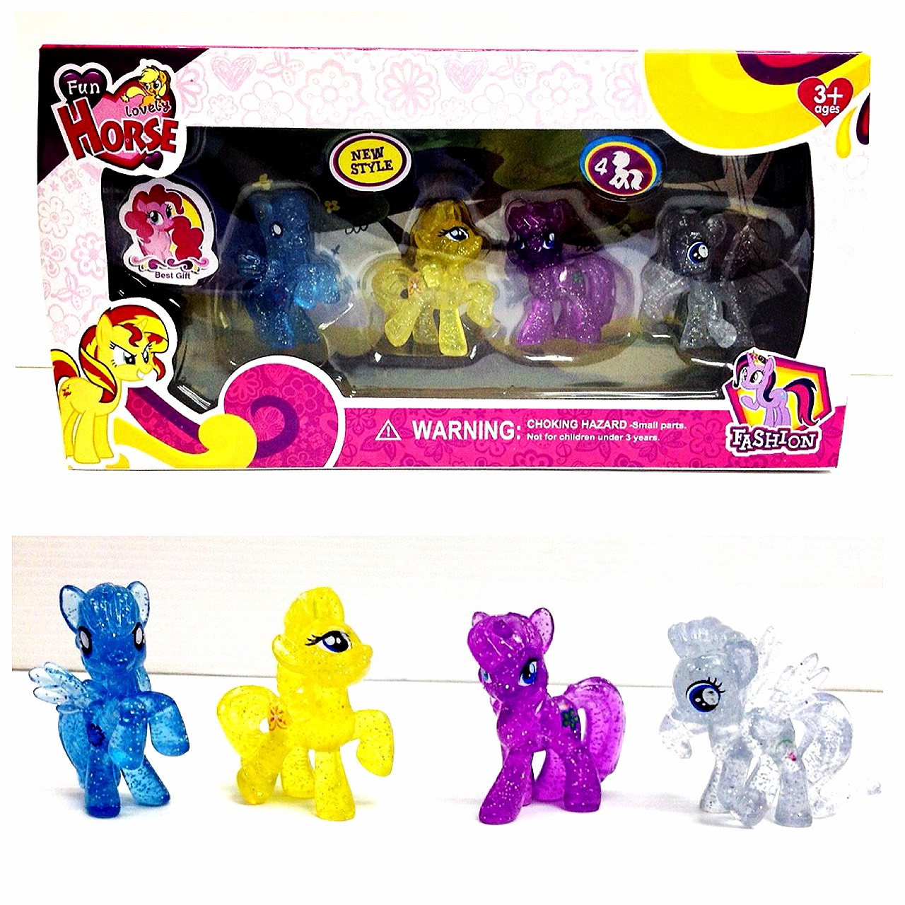 โมเดลม้าโพนี่ My Little Pony Set 4 ตัว รุ่น กลิตเตอร์