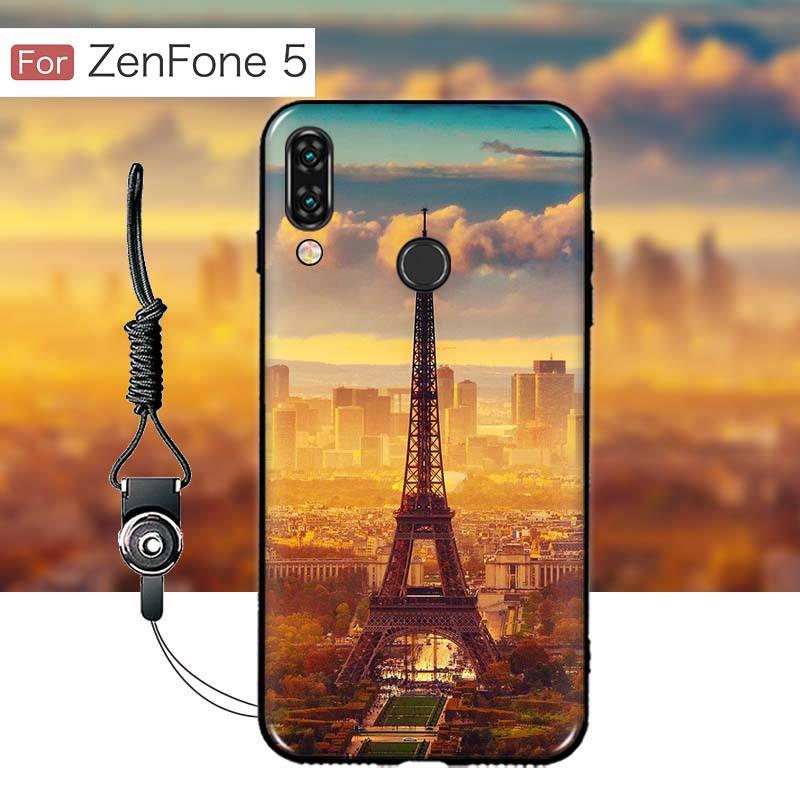 เคส Zenfone 5 (ZE620KL) เคสนิ่ม TPU พิมพ์ลาย (ขอบดำ + พร้อมสายคล้องมือถือ) แบบที่ 1
