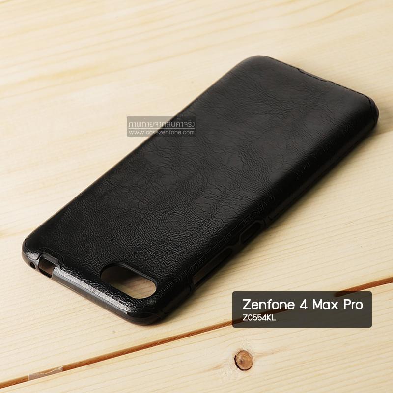 เคส Zenfone 4 Max Pro (ZC554KL) เคสนิ่มพิมพ์ลายหนัง สีดำ