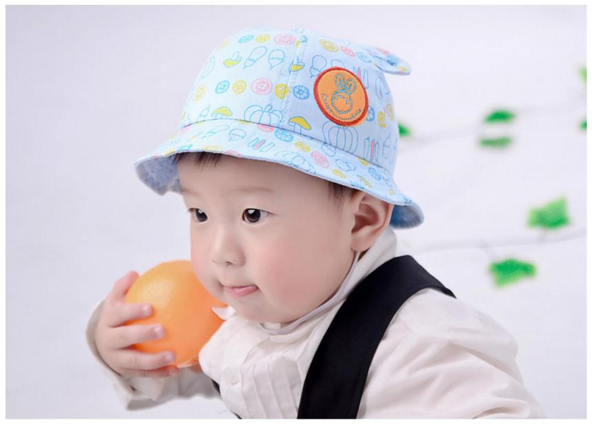 HT471••หมวกเด็ก•• / หมวกปีกกว้าง-นานาผัก (สีฟ้าอ่อน)