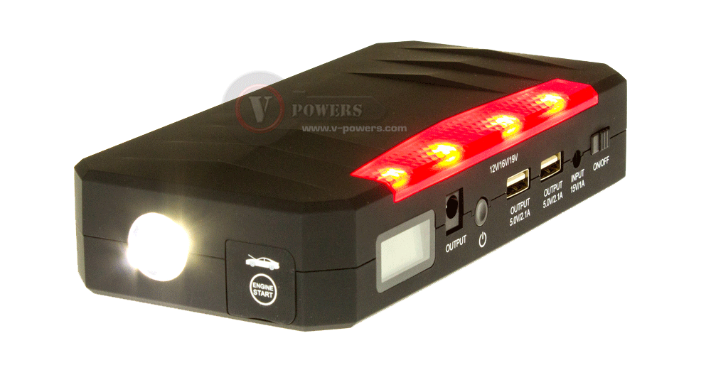 ไฟฉายแบบ White LED ของเครื่องจั๊มสตาร์ทรถยนต์ V-Powers JP08