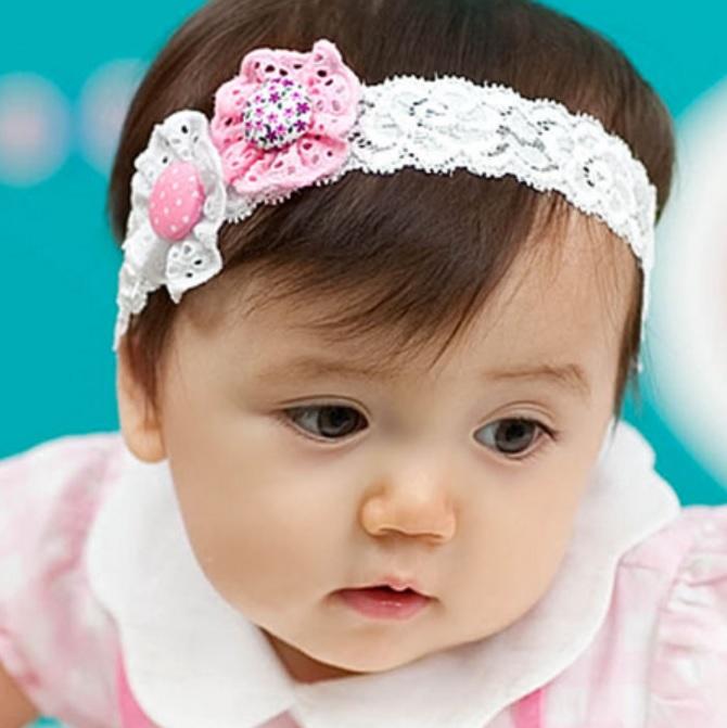HB013••ที่คาดผมเด็ก•• / ดอกไม้กระดุม