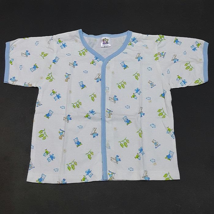 เสื้อเด็ก Size 9-18 เดือน แขนสั้นกระดุมหน้า ผ้านิ่ม -Blue
