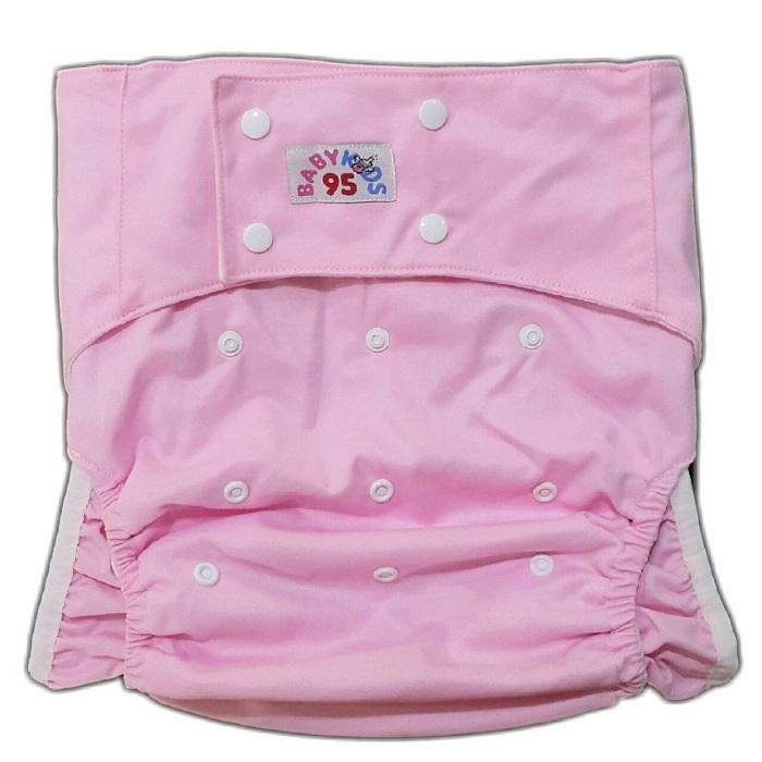 ผ้าอ้อมผู้ใหญ่ ซักได้ รอบเอว23-38นิ้ว +แผ่นซับสีขาว1แผ่น-Pink