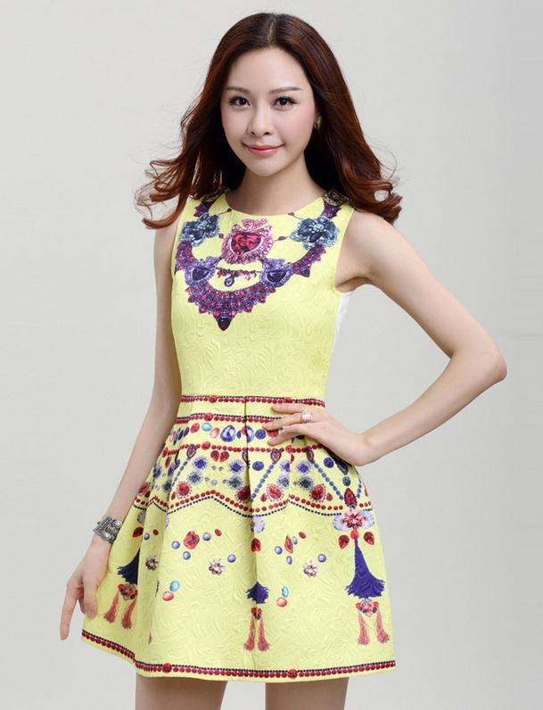 ชุดเดรสสวยๆราคาถูก ชุดแซกกระโปรงใส่ทำงาน สีเหลือง พิมพ์ลายเก๋ๆสวยๆ ผ้าคอลตอลอัดลายดอกไม้ ซิปหลัง