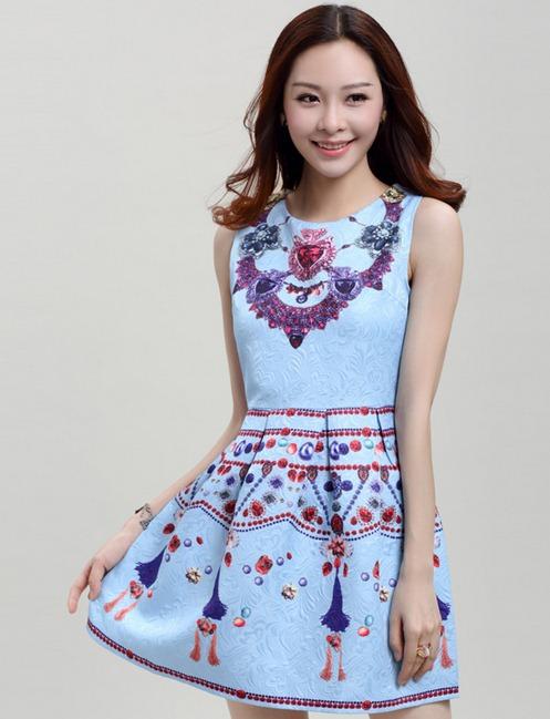 ชุดเดรสสวยๆราคาถูก ชุดแซกกระโปรงใส่ทำงาน สีฟ้า พิมพ์ลายเก๋ๆสวยๆ ผ้าคอลตอลอัดลายดอกไม้ ซิปหลัง