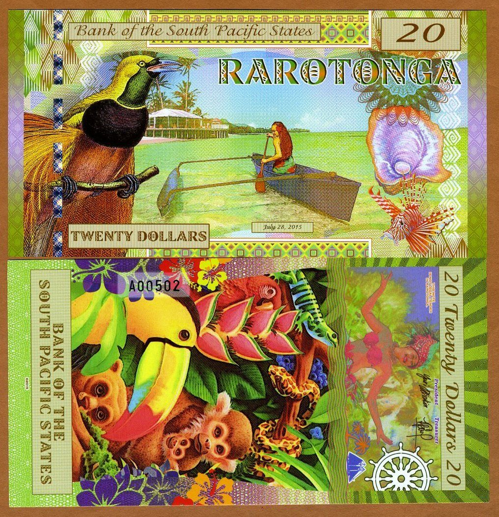 ธนบัตร ราโรตองก้า South Pacific States, $20, Rarotonga (Cook Islands) 2015, Polymer, UNC