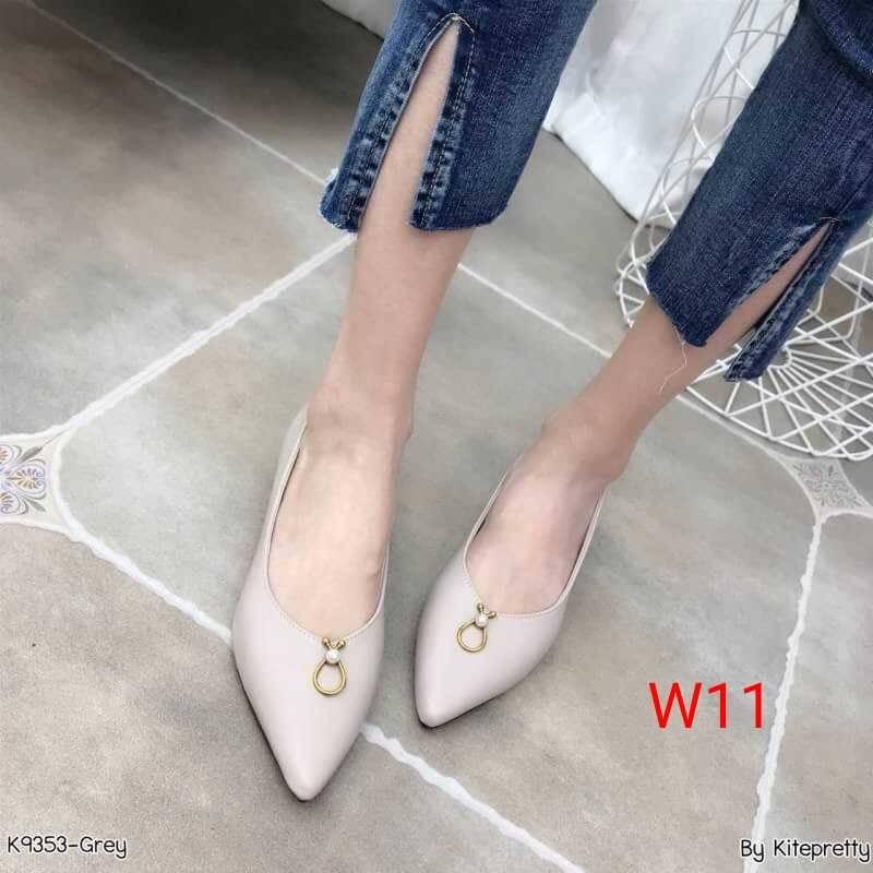 รองเท้าคัทชู ส้นเตี้ย ทรงหัวแหลมแต่งอะไหล่เรียบหรู ส้นเหลียมสวยเก๋ ทรงสวย หนังนิ่ม ใส่สบาย แมทสวยได้ทุกชุด (K9353)