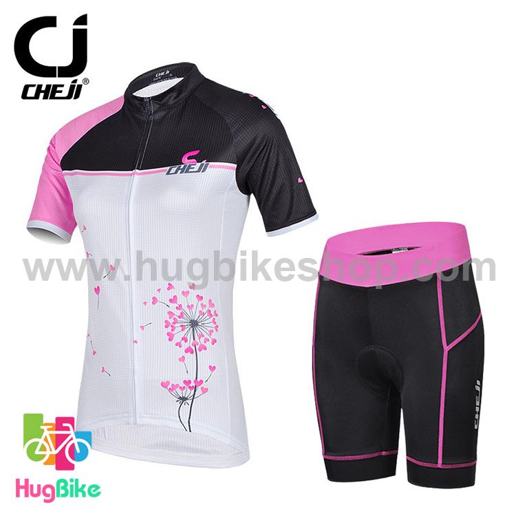 ชุดจักรยานผู้หญิงแขนสั้นขาสั้น CheJi 14 (09) สีขาวดำชมพู สั่งจอง (Pre-order)