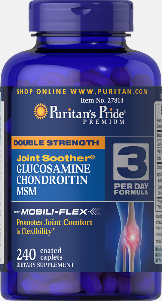 Double Strength Glucosamine, Chondroitin & MSM Joint Soother 240 เม็ด