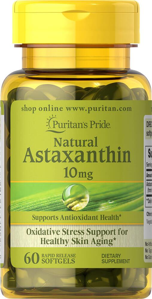ต้านอนุมูลอิสระ Puritan's Pride Natural Astaxanthin 10 mg 60 Softgels