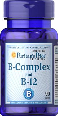บำรุงประสาท และผิวพรรณ Puritan's Pride Vitamin B Complex และ B-12 ขนาด 90 เม็ด