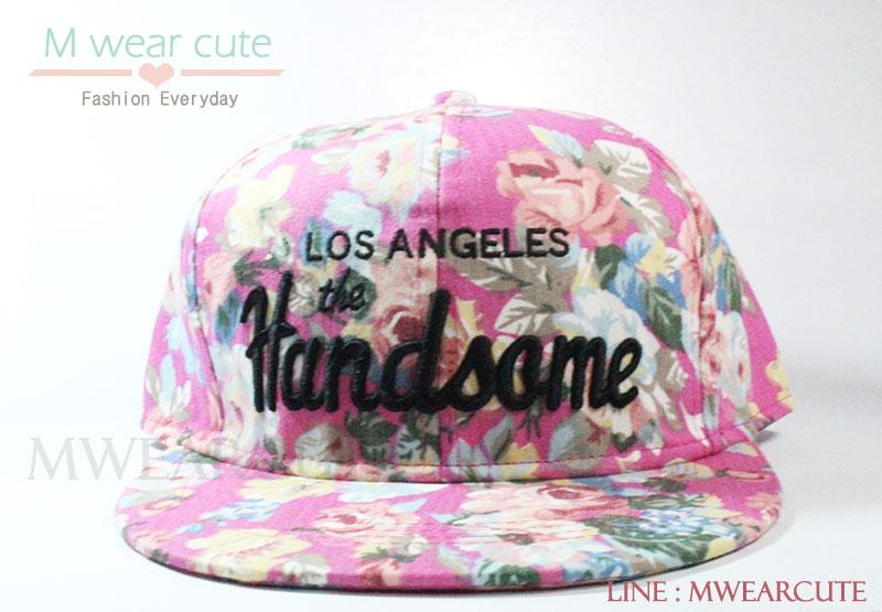 หมวกแก๊ปแฟชั่น ลาย Handsome สีชมพู
