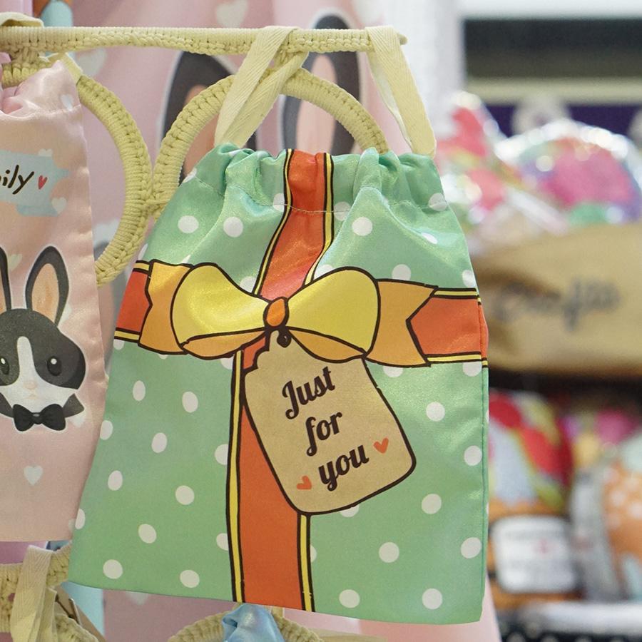 ถุงผ้าซาติน ลายของขวัญ สีมิ้น - Mint Gift