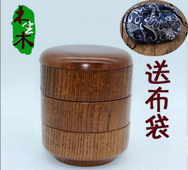 (พรีออเดอร์) กล่องข้าวไม้ กล่องข้าวญีปุ่น เบนโตะ กล่องห่ออาหารกลางวัน ไม้แท้ ลายสวย ปลอดภัย ทรงกลม สามชั้น สีโอ๊ค
