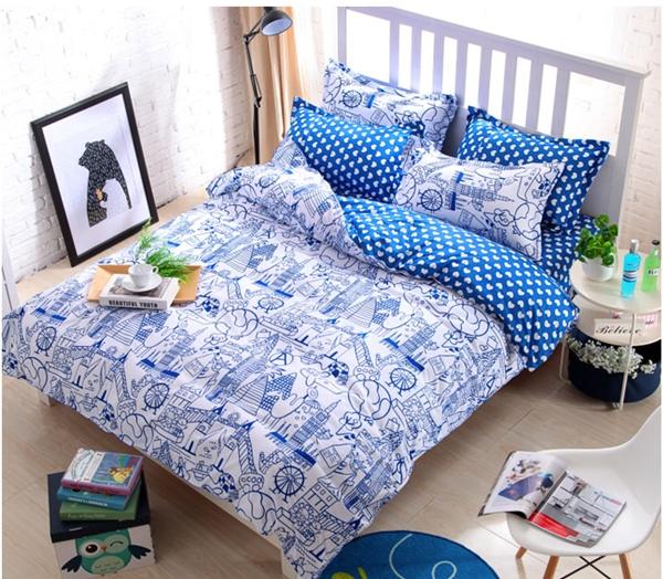 (Pre-order) ชุดผ้าปูที่นอน ปลอกหมอน ปลอกผ้าห่ม ผ้าคลุมเตียง ผ้าโพลีเอสเตอร์พิมพ์ลายการ์ตูนแฟนซีลายเส้นสีฟ้าขาว