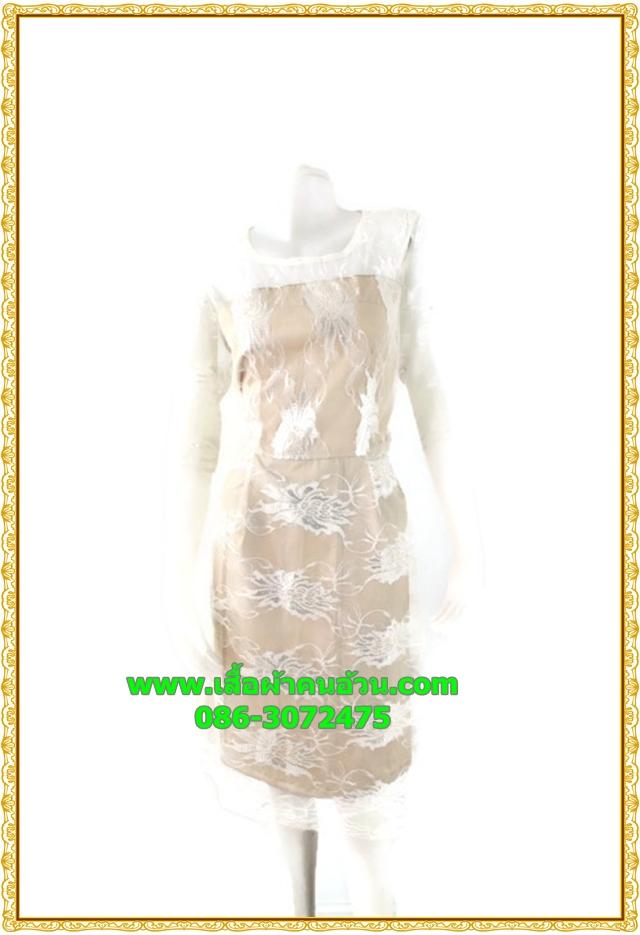 2899ชุดเดรสทำงาน เสื้อผ้าคนอ้วนออกงานปูลูกไม้โปร่งบริเวณอกช่วงบนเซ็กซี่สไตล์โดดเด่นสะดุดตา เลิศหรูสีขาวทองเปลี่ยนลุคเป็นสาวหวาน