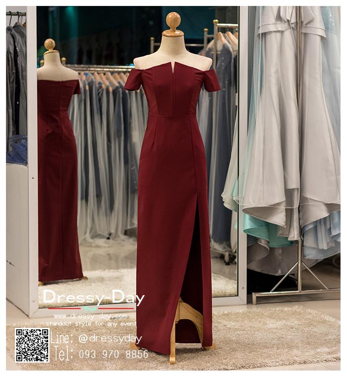รหัส ชุดราตรียาวคนอ้วน : PK033 ชุดแซก ชุดราตรียาวมีแขน หรู สีแดง ไหล่ปาด เรียบหรู เหมาะสำหรับงานแต่งงาน งานกลางคืน กาล่าดินเนอร์