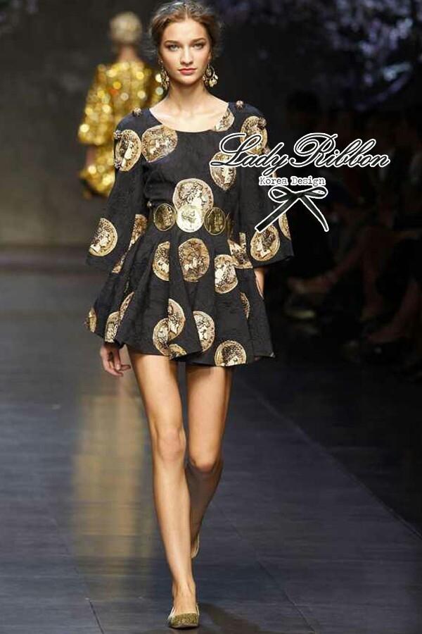 D&G Black Golden Printed Mini dress, Dolce&Gabbana