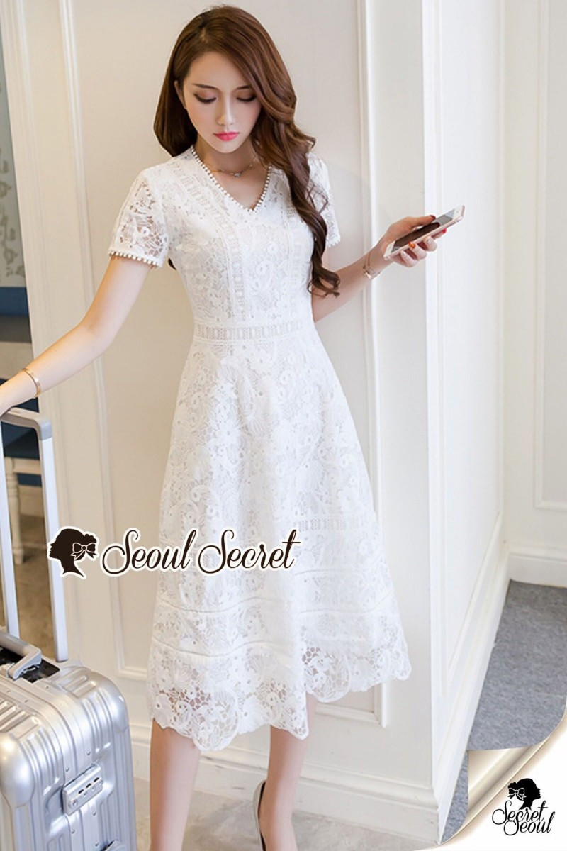 Seoul Secret Say's... Lovely Lace Dotty Flora Dress