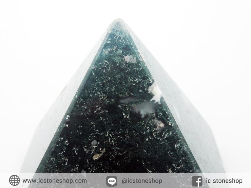 หินทรงพีระมิค- มอสอาเกต Moss Agate (186g)