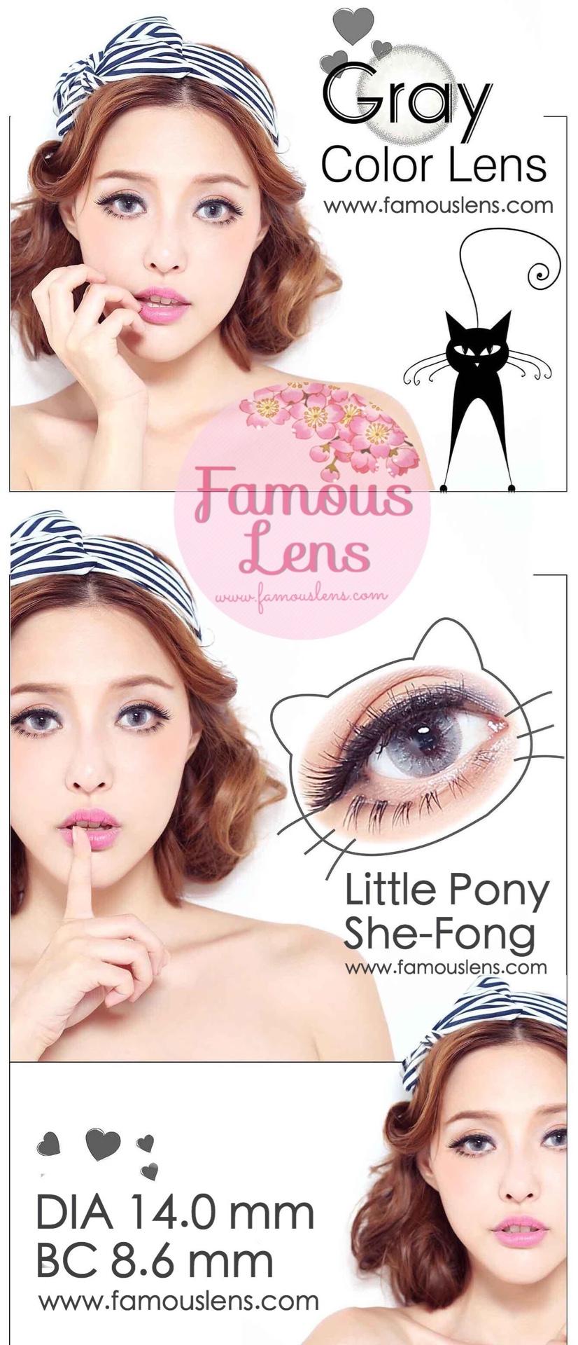 คอนแทคเลนส์สีเทา ขนาดเท่าตาจริง ไซส์มินิ คอนแทคเลนส์ตาฝรั่ง Little Pony Shefong She-Fong Famouslens Dueba Bubble