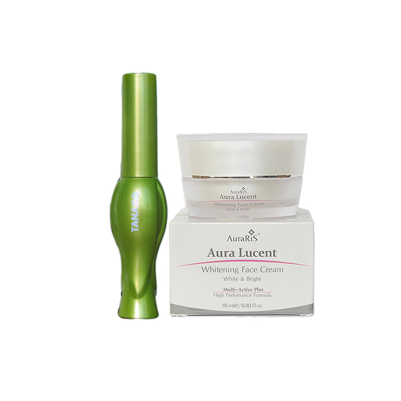 AuraRIS ครีมบำรุงผิวหน้า ครีมหน้าขาว ขาวสวยใส ลดสิว ฝ้า กระ จุดด่างดำ Whitening Face Cream 10 ml + Tanako Aloe Vera Eyeliner อายไลนเนอร์ ผสมเอสเซนซ์ ว่านหางจระเข้ 92% กันน้ำ อยู่ทนนาน เขียนขอบตาสวย คมกริบ บางเพียง 0.1 mm ขนแปรงนุ่ม
