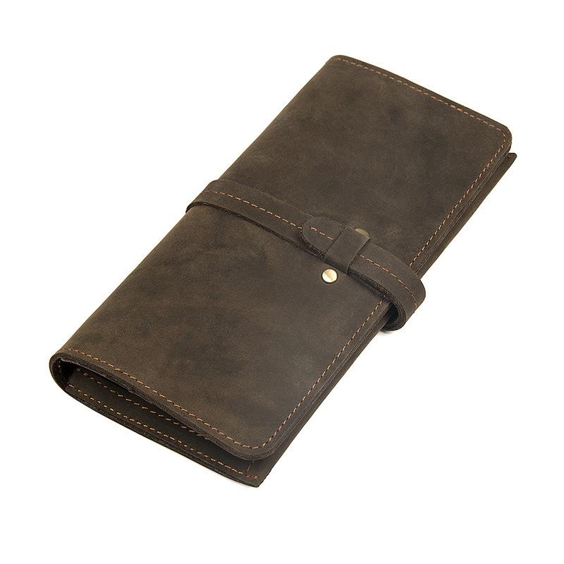 GT-8180 กระเป๋าสตางค์ผู้ชาย หนังนูบัค สีน้ำตาลเข้ม