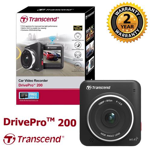 Transcend Dashcam DrivePro 200 + Free Card Memory 16 GB Inside