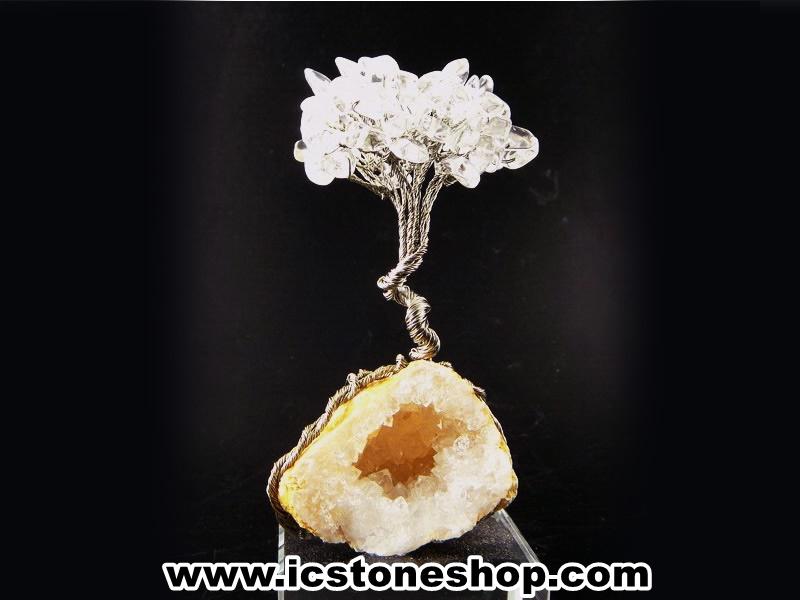▽ต้นไม้มงคล หินควอตซ์ใส (Clear Quartz) -ฐานควอตซ์ ใช้เสริมฮวงจุ้ย โต๊ะทำงาน (122g)