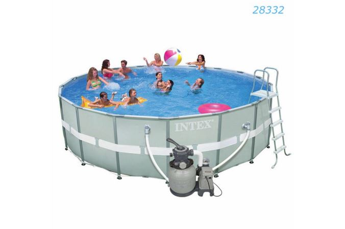 Intex Ultra Frame Pool 18 ฟุต เครื่องกรองระบบทราย (5.49 x 1.32 ม.) 28332