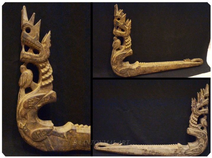 ไม้แกะสลักเก่า-ประดับหัวเกวียน ศิลปะพม่า
