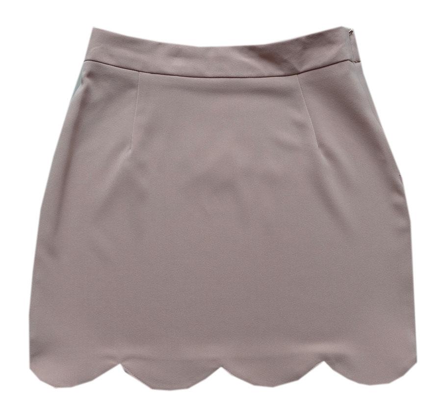 กระโปรงปลายหยัก ผ้าฮานาโกะ สีน้ำตาล Size S M L XL