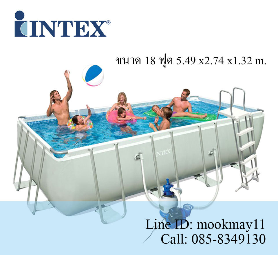 Intex Ultra Frame Pool 18 ฟุต เครื่องกรองทราย-เกลือ (5.49 x 2.74 x 1.32 ม.) 28352