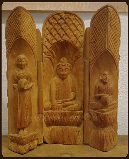 ไม้แกะสลัก ตลับพระศิลปะพม่า(1)